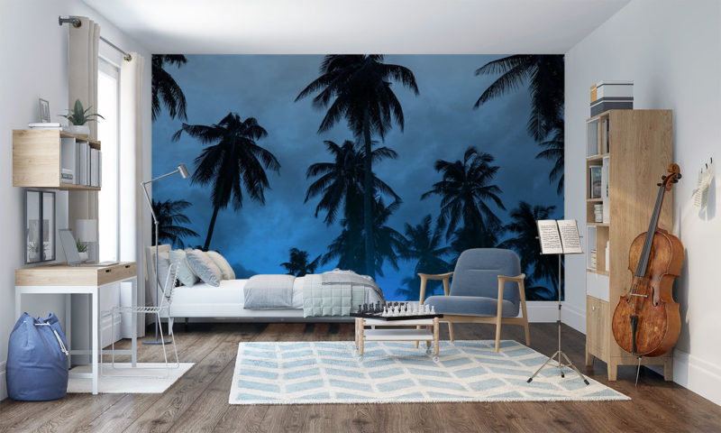 Cloudy Blue-hazed Skyline with Palm Trees Wall Mural