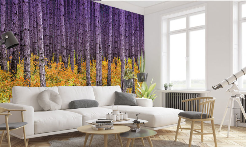 Purple and Yellow Contrasting Trees Mural Wallpaper