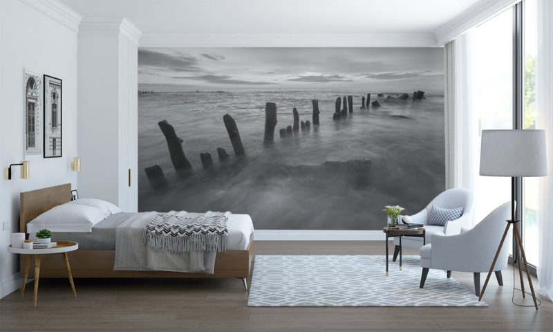 Misty Water Wooden Stakes Mural