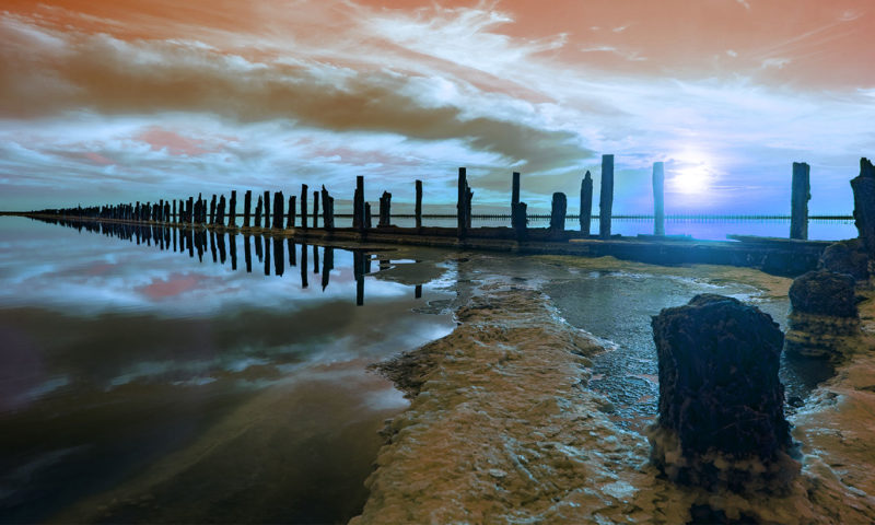 Colourful High-Quality Wooden Pier Wallpaper Mural