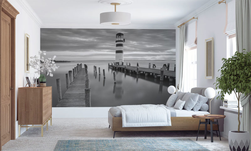Beautifully Still-water with small Lighthouse Wall Art