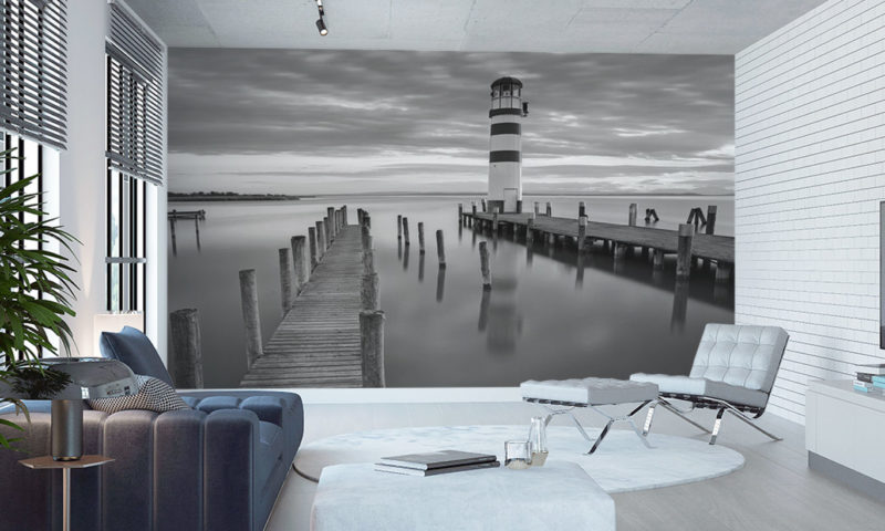 Beautifully Still-water with small Lighthouse Mural