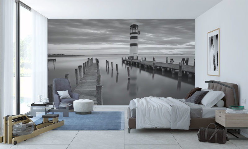 Beautifully Still-water with small Lighthouse Wallpaper