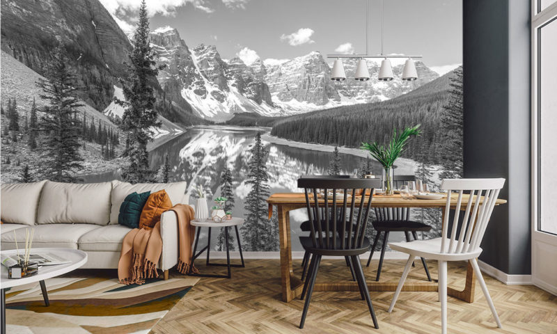 Stunning Snowy Lake and Mountains Mural Wallpaper