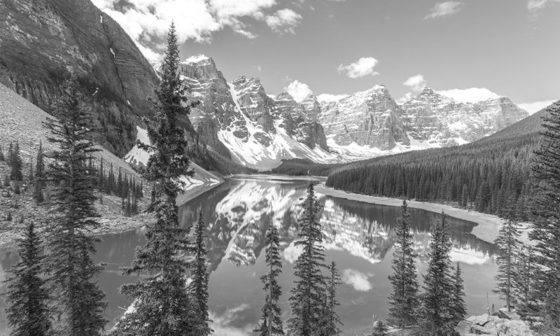 Stunning Snowy Lake and Mountains Wallpaper Mural