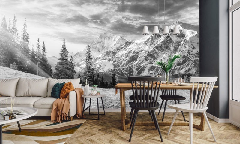 Spruce Trees with Snowy Mountain Mural