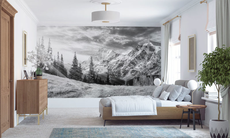 Spruce Trees with Snowy Mountain Wall Art