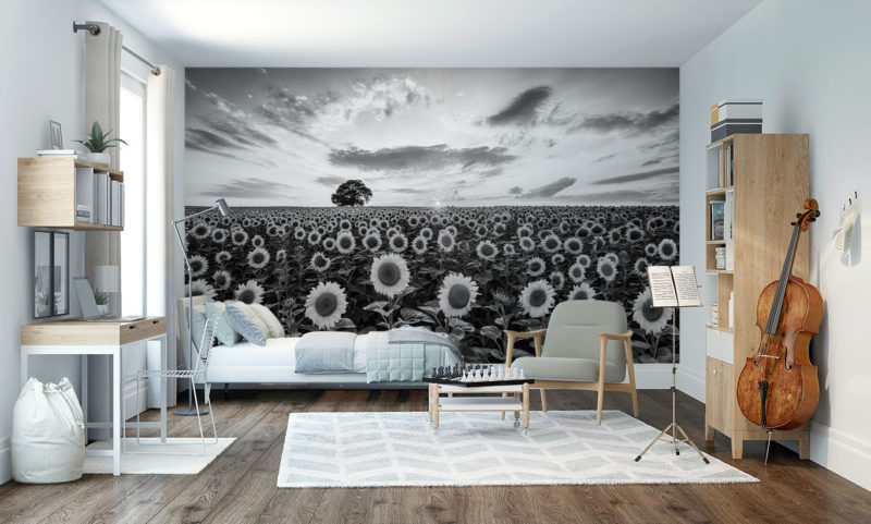 Compacted Sunflower Farm with Oak Tree Mural