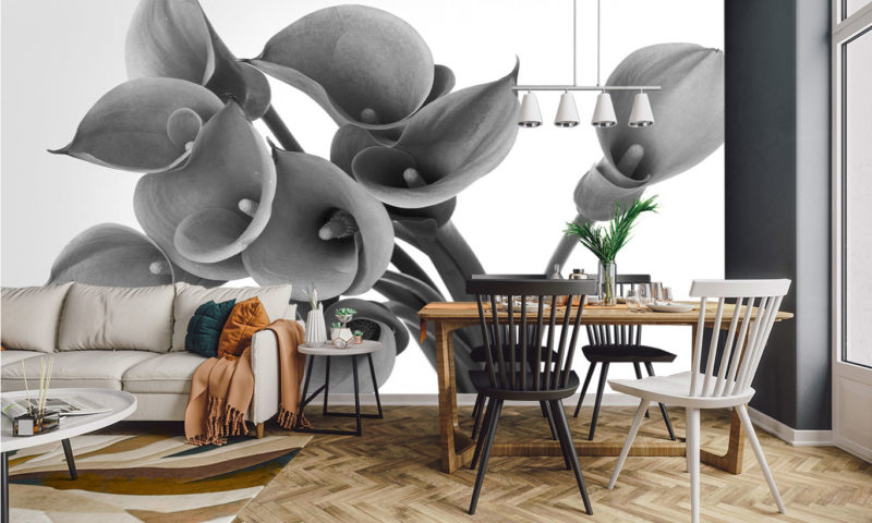 Lovely Grayscale Flowers Mural