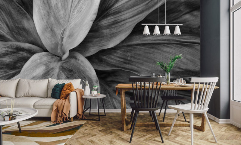 Stunning Grayscale Large Plant Mural