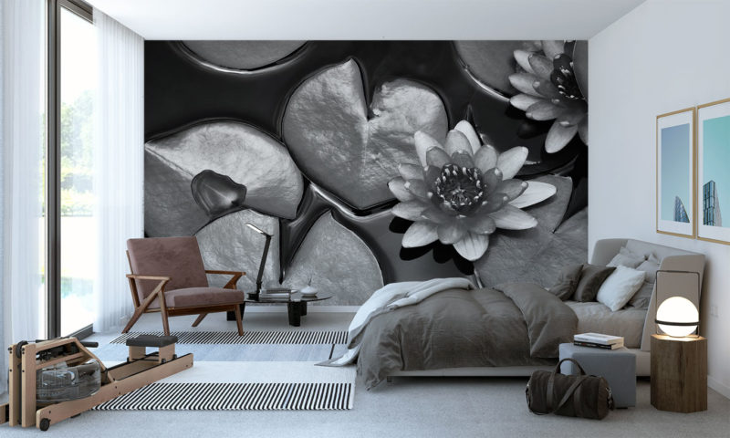 Stunning Grayscale Lillypads Mural