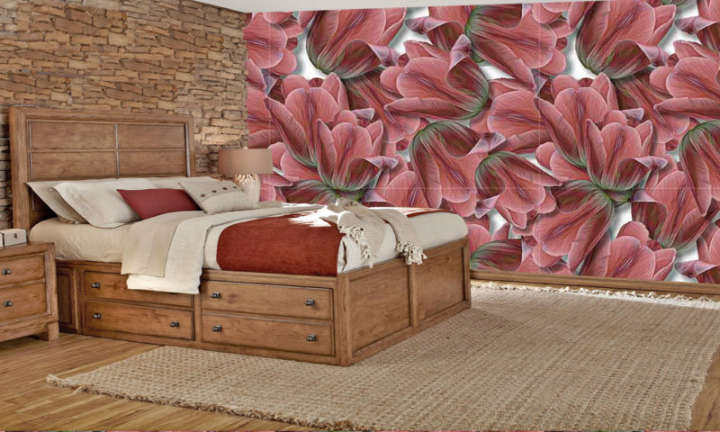 Red Tulips Pattern Mural