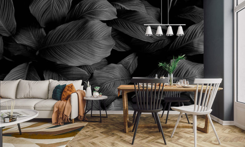 Grayscale Large Leaves Wall Art