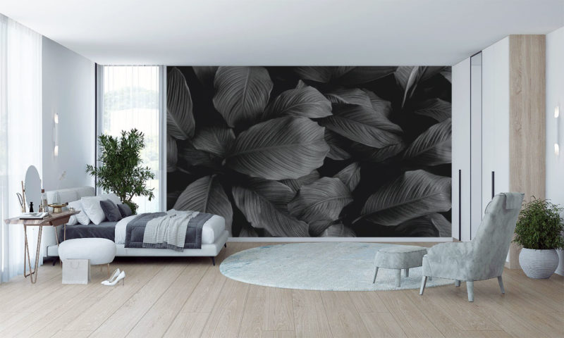 Grayscale Large Leaves Mural