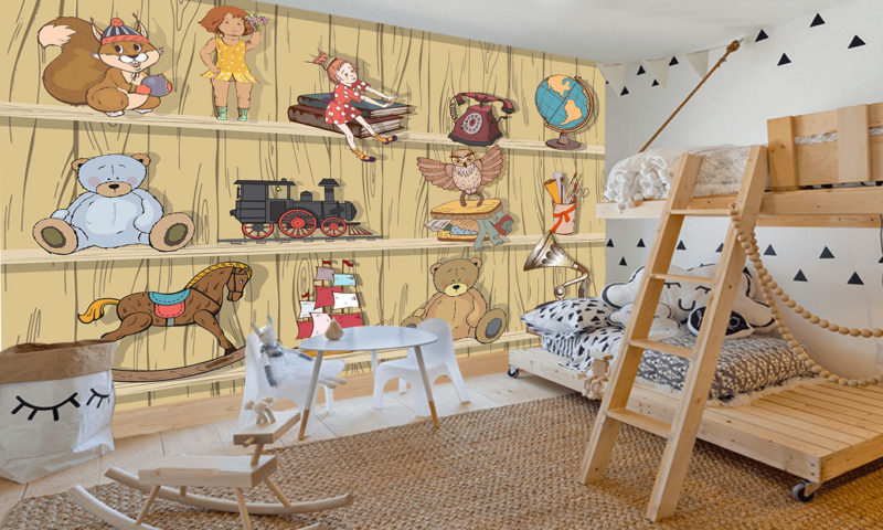 Old Toy Shelves Mural