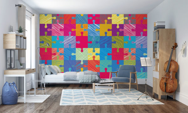 Childrens Bright and Colourful Jigsaw Wall Art