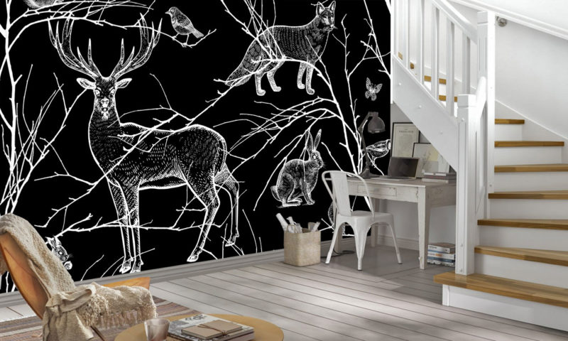 Black And White Animals Of The Forest Mural wallpaper
