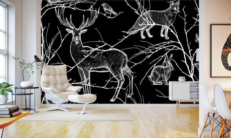 Black And White Animals Of The Forest Wallpaper