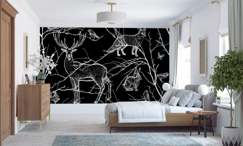 Black And White Animals Of The Forest Wall Art