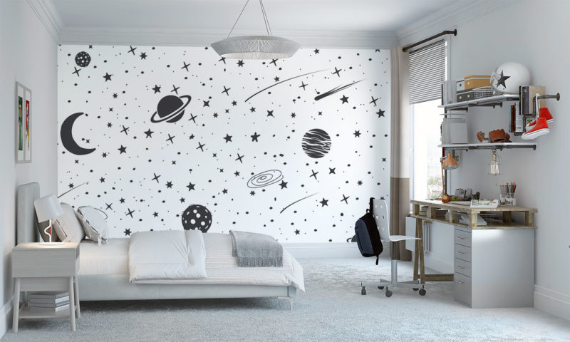 Monochrome Sketch of Planets and Galaxies Wall Art