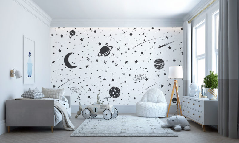 Monochrome Sketch of Planets and Galaxies Mural