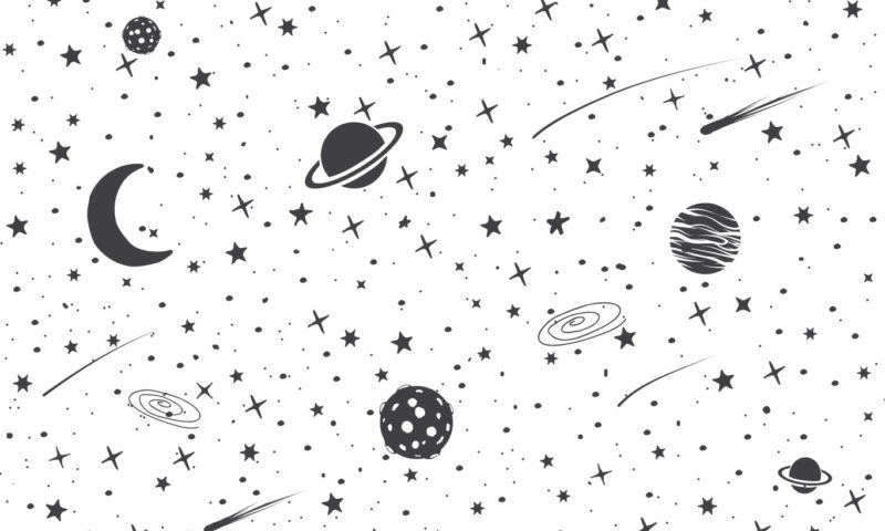 Monochrome Sketch of Planets and Galaxies Wallpaper Mural
