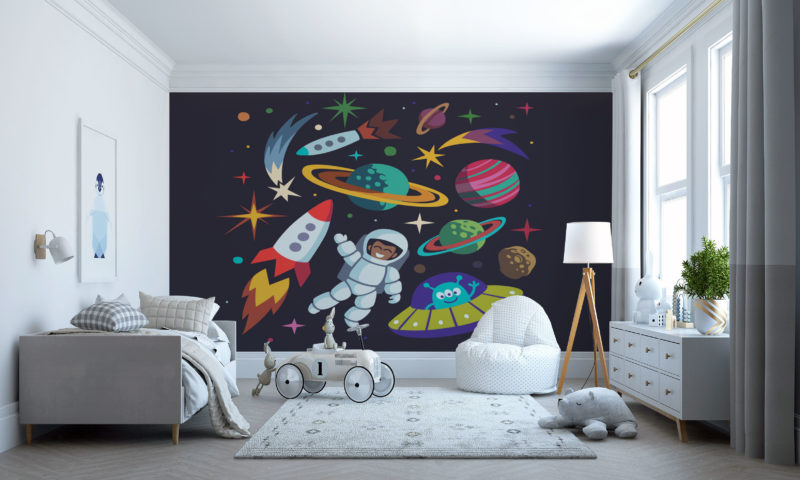 Spaceman And Rockets Mural Art