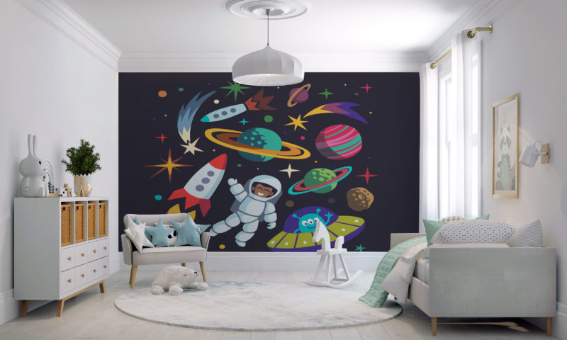 Spaceman And Rockets Wall Art