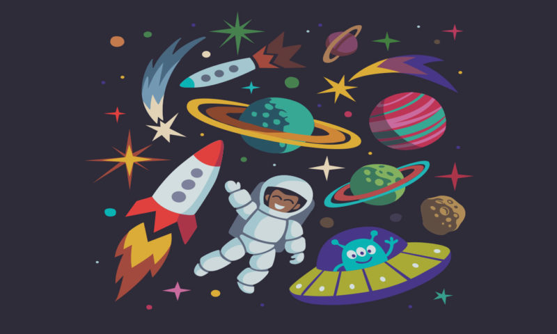Spaceman And Rockets Wallpaper Mural