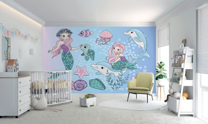 Mermaids and Dolphins Mural Art