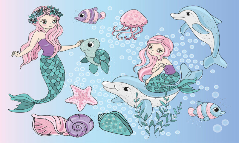 Mermaids and Dolphins Wallpaper Mural