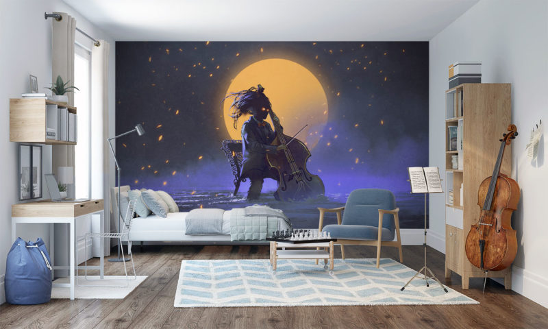Playing Cello infront of a Orange Moon Mural Wallpaper