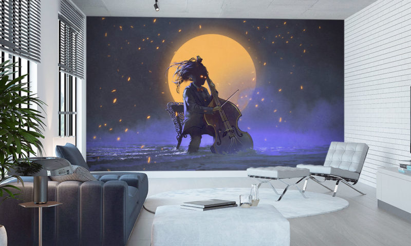 Playing Cello infront of a Orange Moon Wall Art