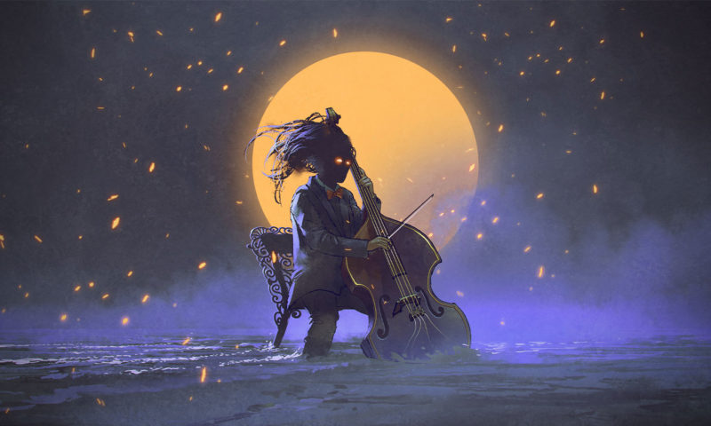 Playing Cello infront of a Orange Moon Wallpaper Mural