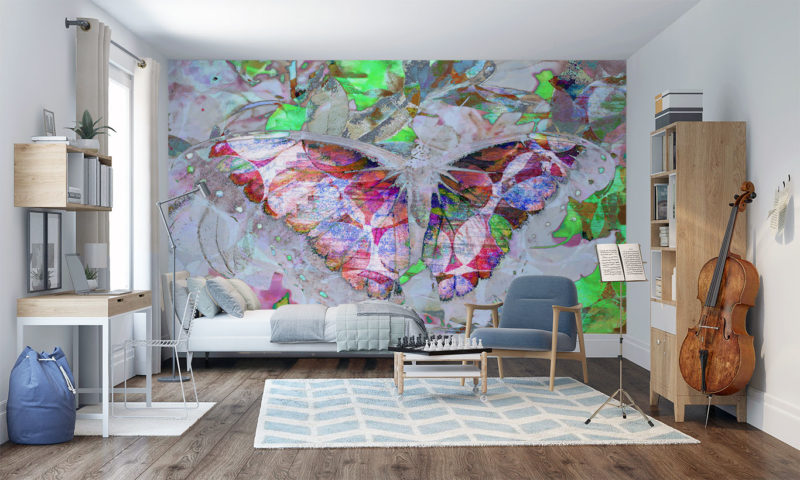 Abstract Colourful Butterfly Wings Spread Wall Art