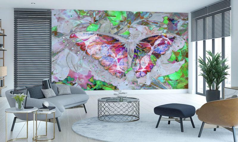 Abstract Colourful Butterfly Wings Spread Mural Wallpaper