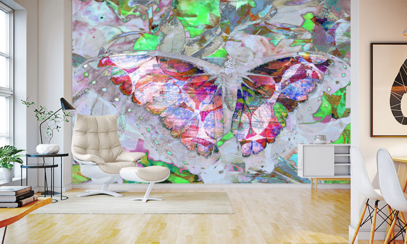 Abstract Colourful Butterfly Wings Spread Wallpaper