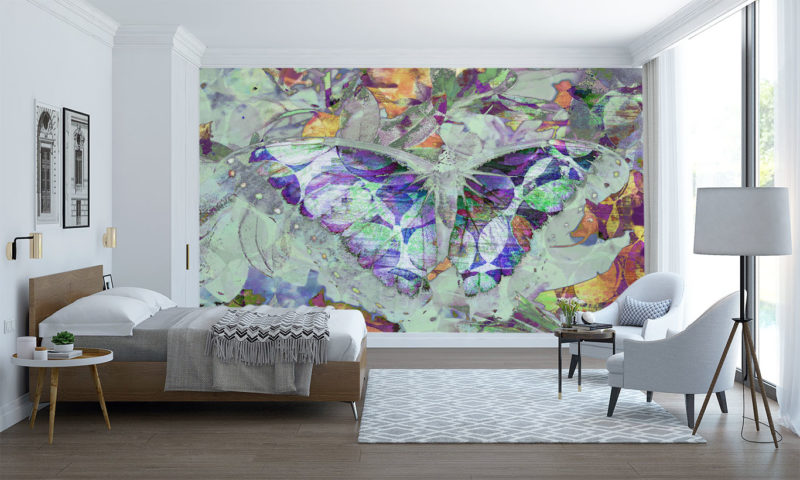 Inverted-Butterfly with Wings Spread Mural Wallpaper