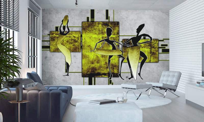 Yellow African Inspired Silhouette Mural