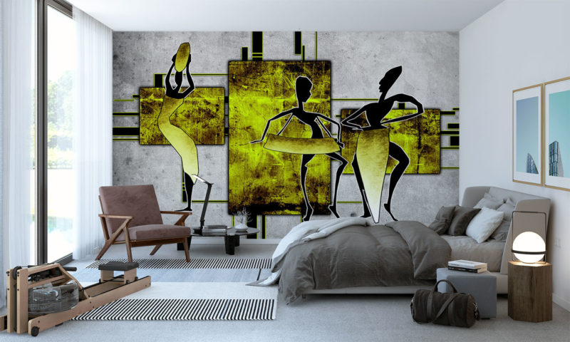 Yellow African Inspired Silhouette Wallpaper