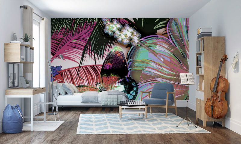 Serene Red Butterfly Paradise Mural