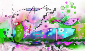 Biological Discovery in Green and Purple Wallpaper Mural