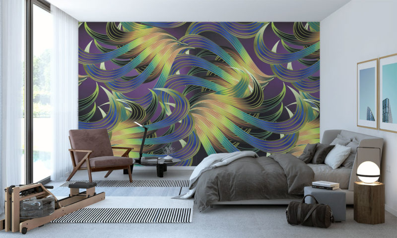 Blue and Gold Feather Swirls Mural
