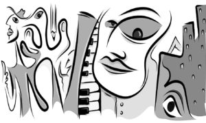 Grey Musical Picasso-style Portrait Wallpaper Mural