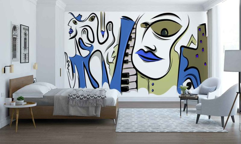 Blue Musical Picasso-style Portrait Mural