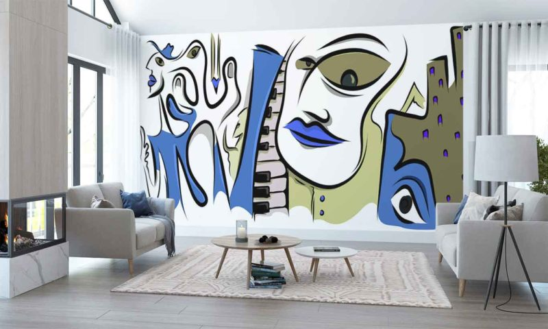 Blue Musical Picasso-style Portrait Wall Art