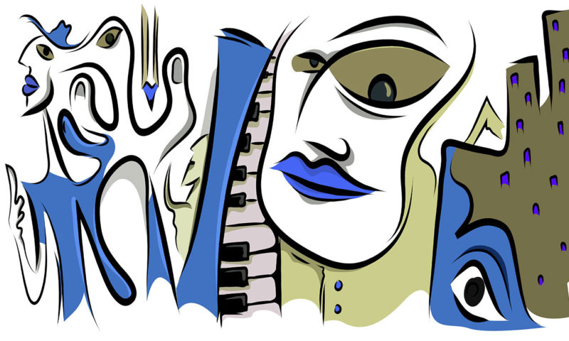 Blue Musical Picasso-style Portrait Wallpaper Mural