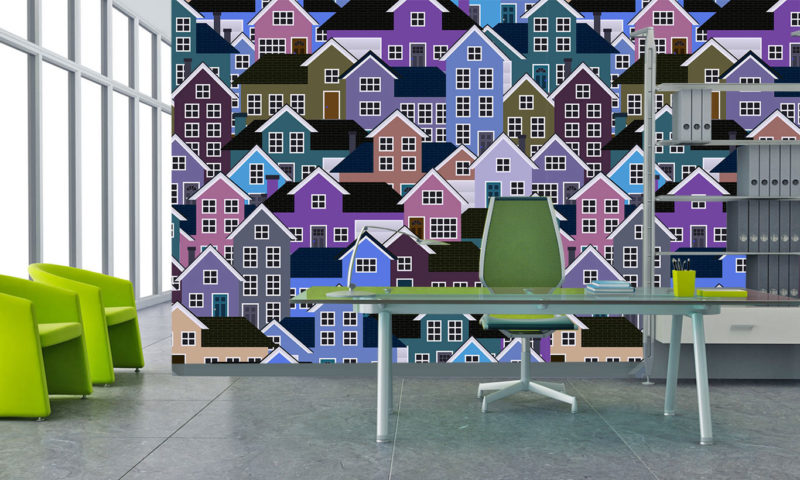 Purple Town House Patterned Wall Art