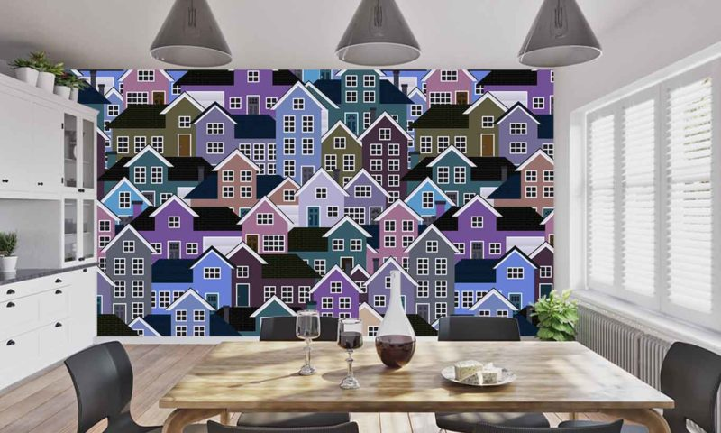Purple Town House Patterned Wallpaper