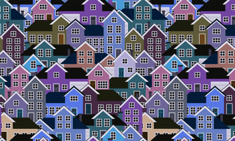 Purple Town House Patterned Wallpaper Mural